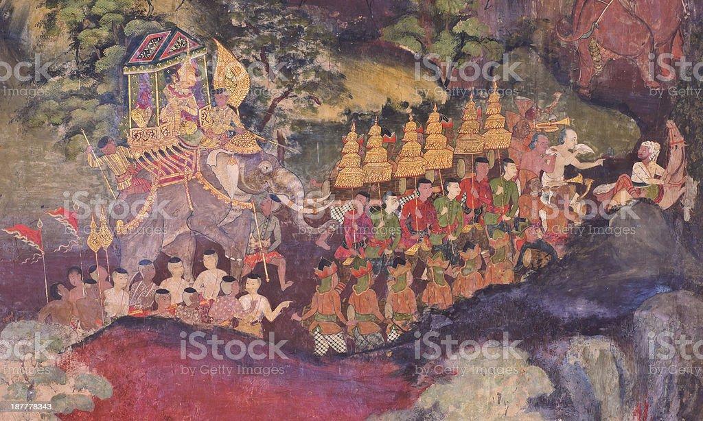 Photo Libre De Droit De Ancienne Fresque Murale Thaïlandais