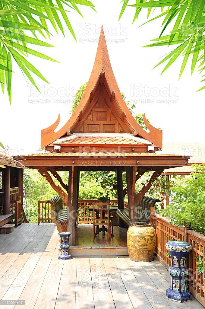 Ancient Thai style wooden gazebo stock photo