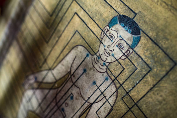 Ancient Thai wall painting depicting a chart of man's acupuncture points at an angle stock photo