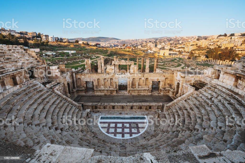 Ancient theater architecture Jerash in Amman, Jordan stock photo