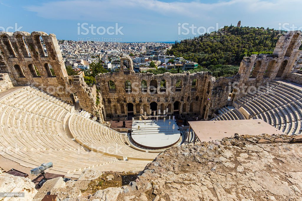 Ancient theater in Acropolis stock photo