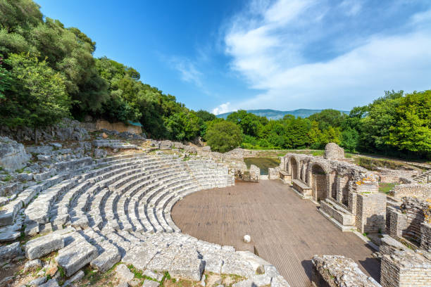 Ancient Theater in Butrint, Albania stock photo