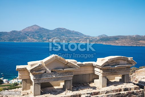 The ancient Roman theater of Milos (Cyclades, Greece).