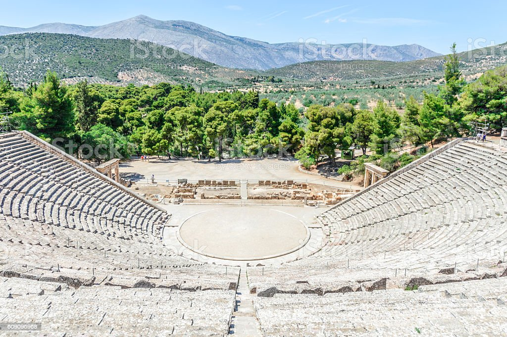 Ancient Theater of Epidaurus in Greece stock photo
