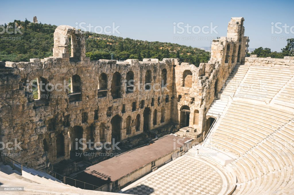 Ancient theater of Herodes Atticus on Acropolis in Athens, Greece stock photo