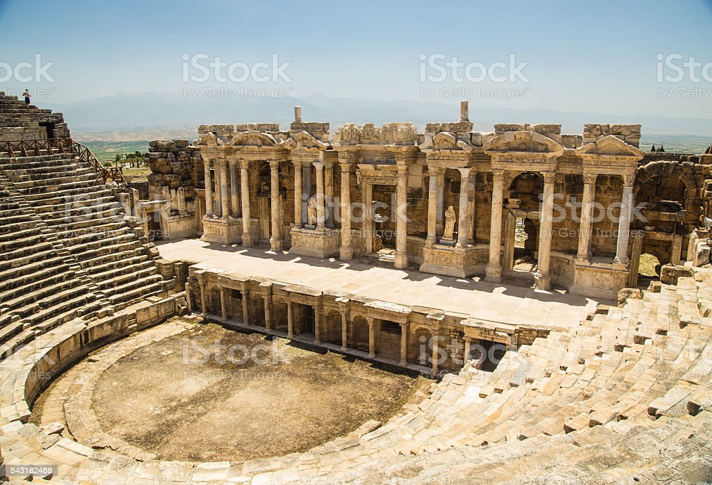 Ancient theatre in modern Pammunkale (Hierapolis  ancient city) stock photo