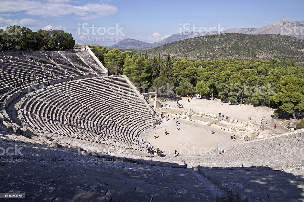 Ancient theatre in Sanctuary of Asklepios at Epidaurus, Greece Ancient theatre in Sanctuary of Asklepios at Epidaurus, Greece Amphitheater Stock Photo
