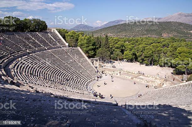Ancient Theatre In Sanctuary Of Asklepios At Epidaurus Greece Stock Photo - Download Image Now