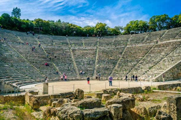 Ancient  theatre of Epidaurus ( Epidavros) , Argolida peloponnese stock photo