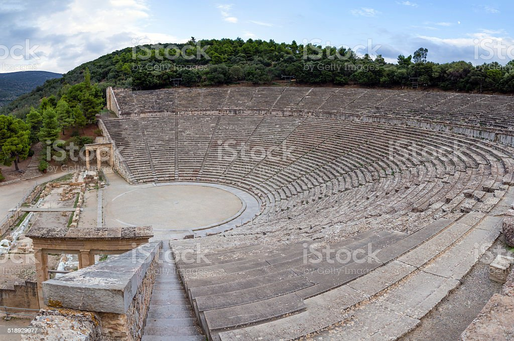 Ancient Theatre of Epidaurus, Peloponnese, Greece stock photo