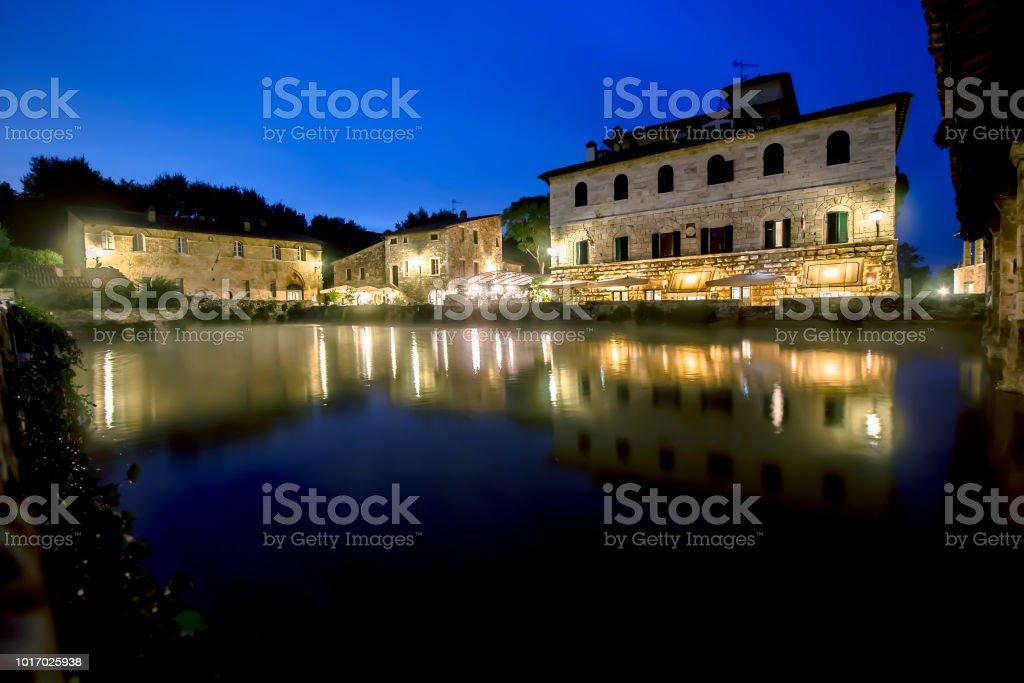 Ancient thermal bath in Bagno Vignoni, Italy stock photo