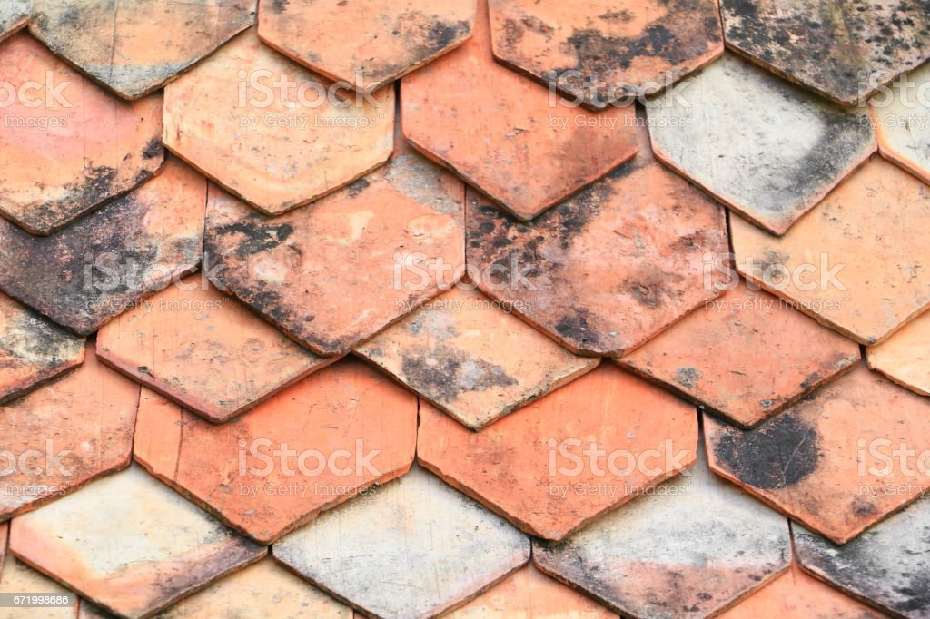 Ancient tile roof Thailand style texture, Select focus with shallow depth of field. stock photo