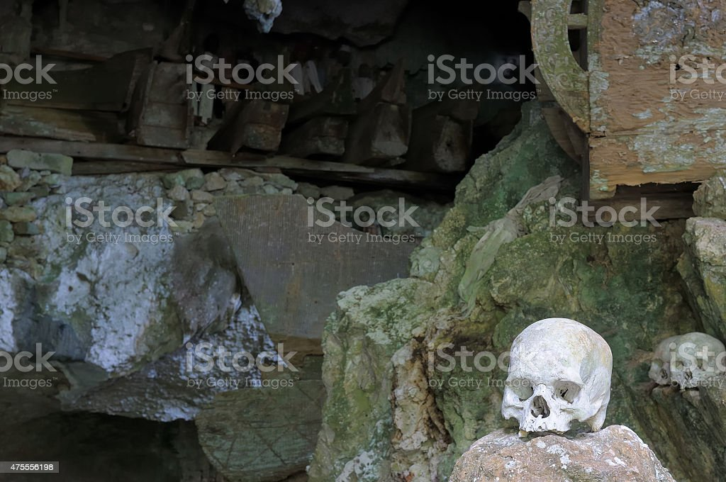 Ancient tombs in cave in Indonesia stock photo