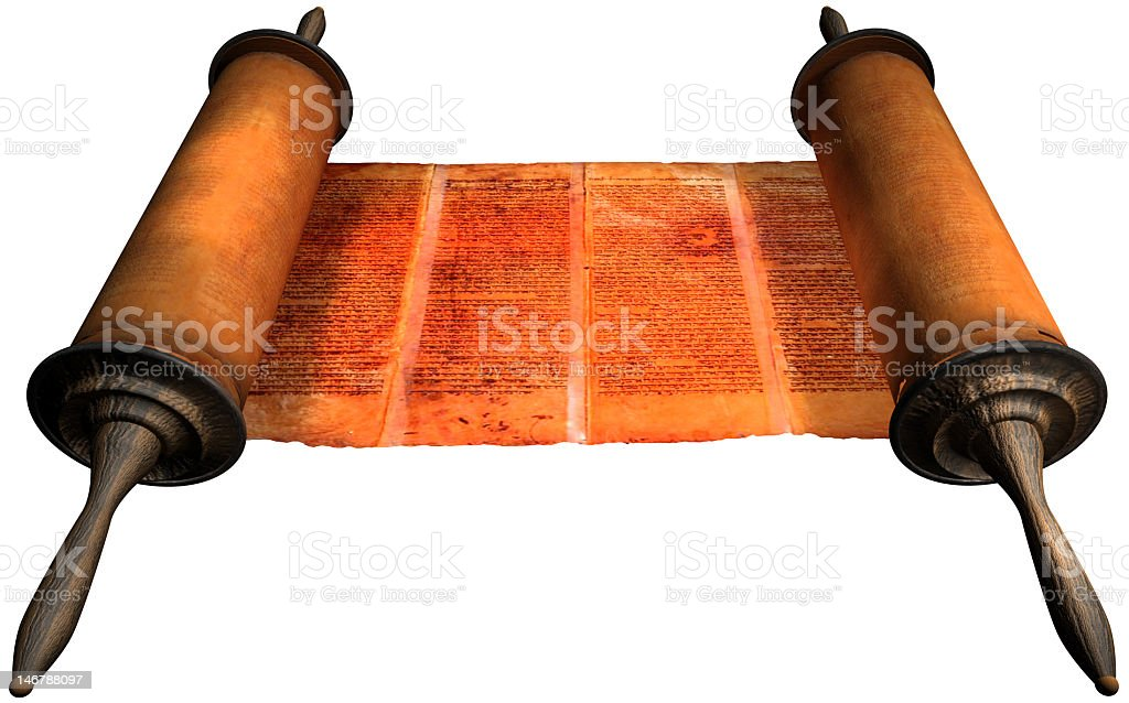 Ancient Torah scroll isolated on white background stock photo