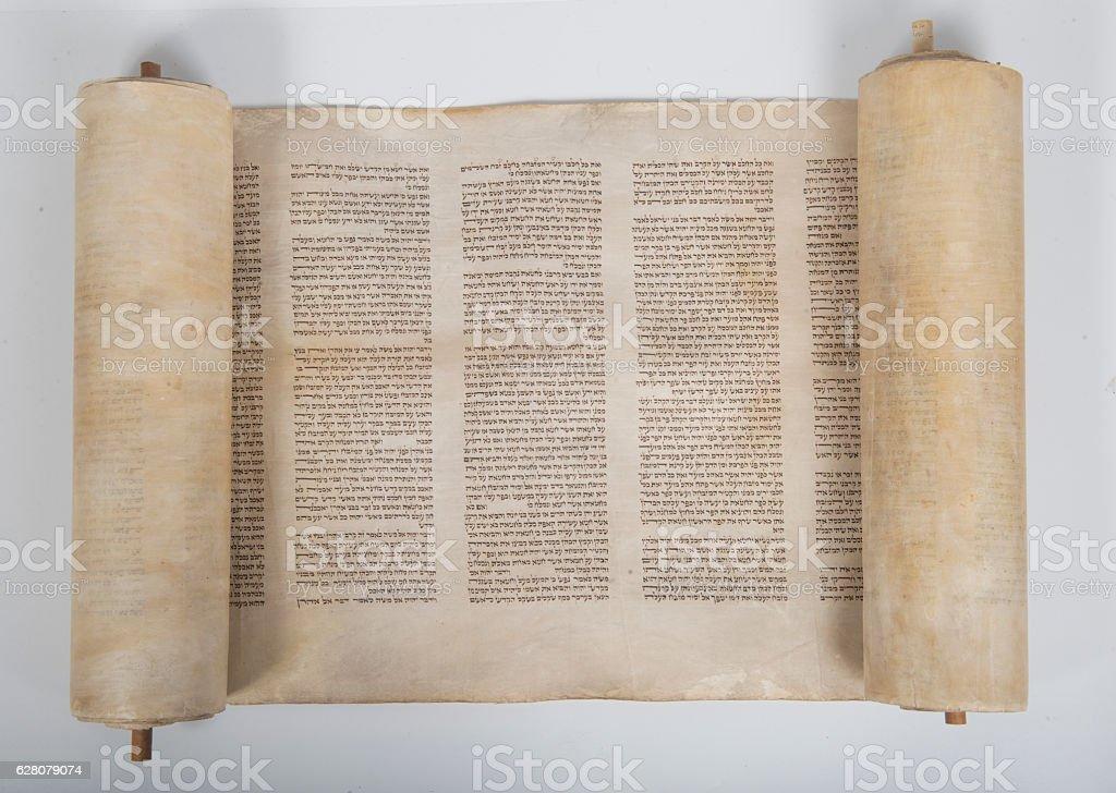 ancient torah scroll top view stock photo