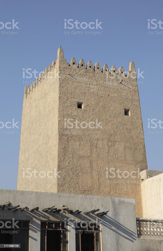 Ancient tower in Doha. Qatar stock photo