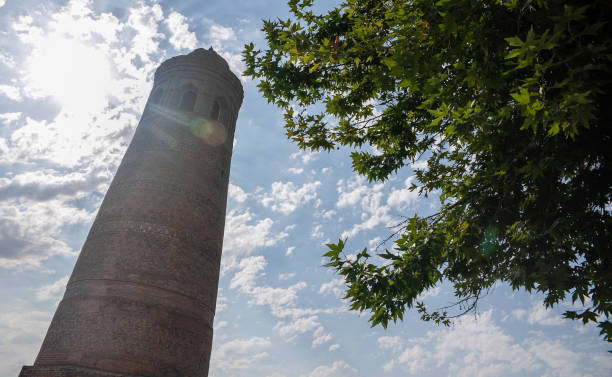 (Editorial use only) Ancient tower in Uzgen town, Kyrgyzstan. stock photo
