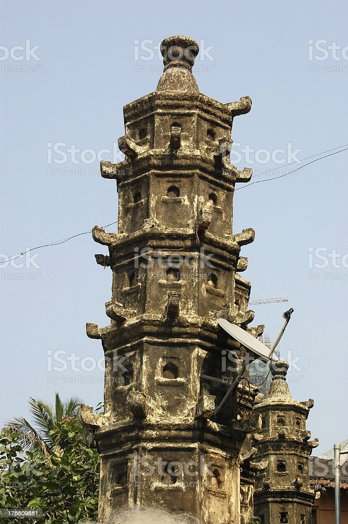 Ancient tower, modern use stock photo