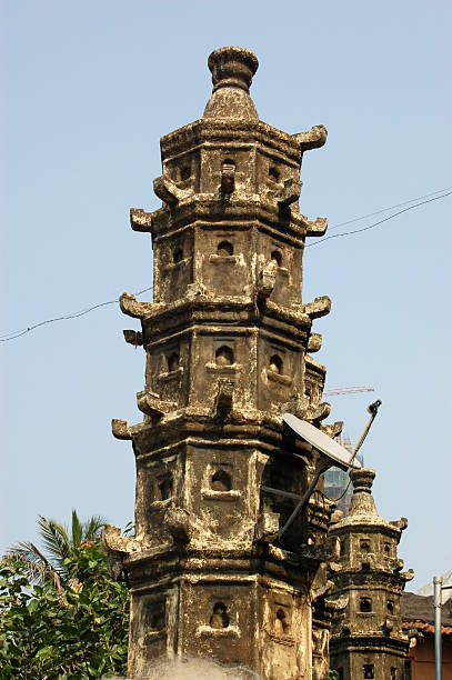 Ancient tower, modern use An ancient Hindu dovecote on the banks of the sacred Banganga tank in the Malabar district of Mumbai (formerly Bombay).  Now being used to support a television satellite dish. anachronistic stock pictures, royalty-free photos & images