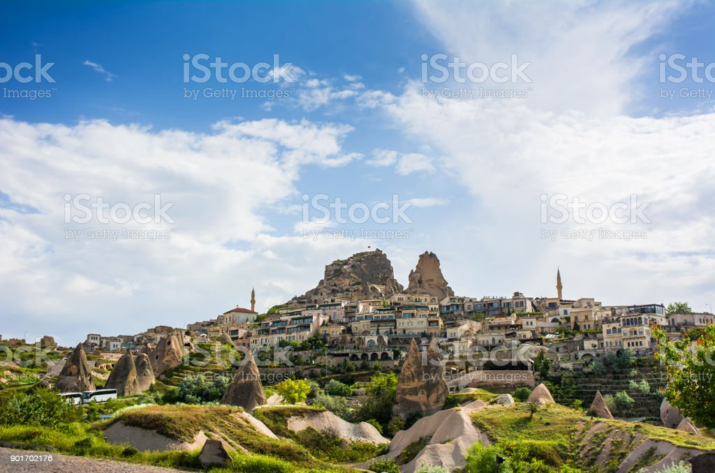 Ancient town and a castle of Uchisar, Cappadocia, Turkey stock photo