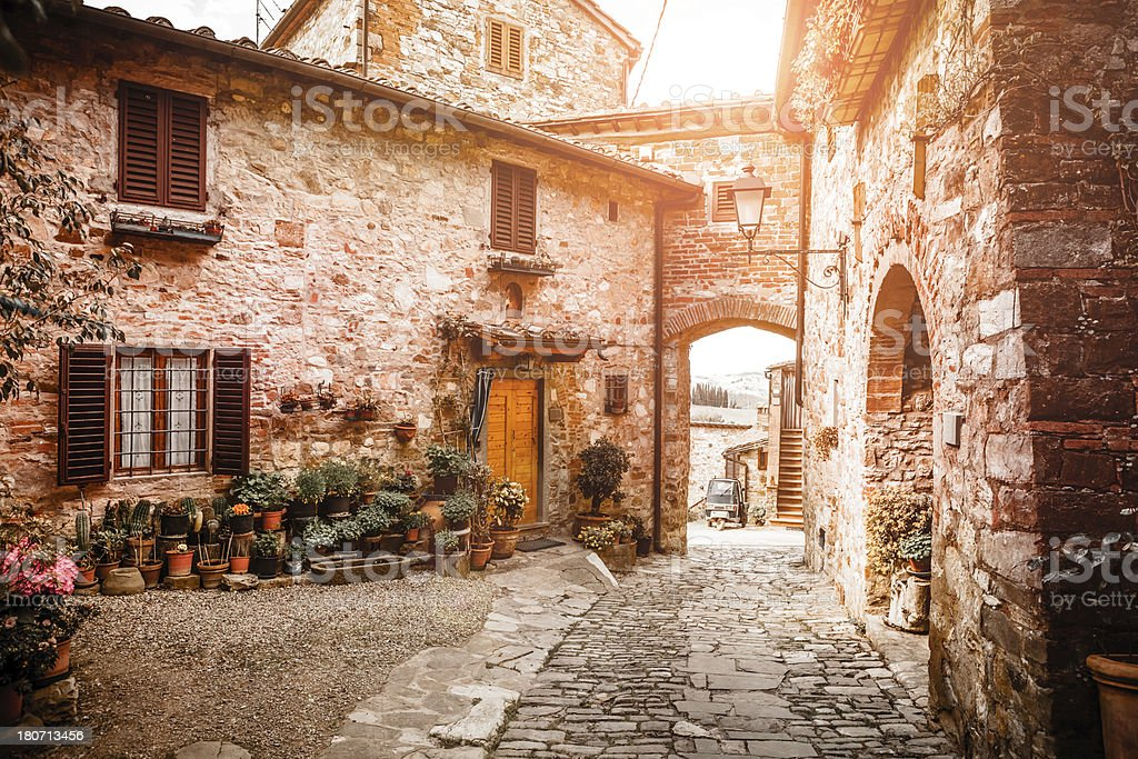 Ancient Town in Tuscany, Italy stock photo
