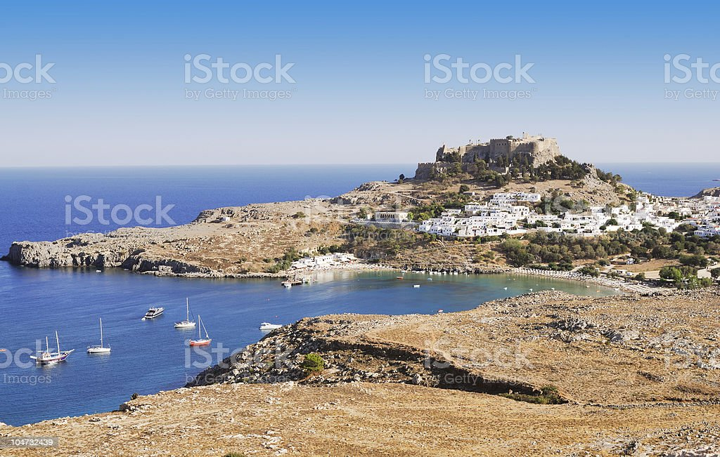 Ancient town Lindos, Rhodes island, Greece royalty-free stock photo