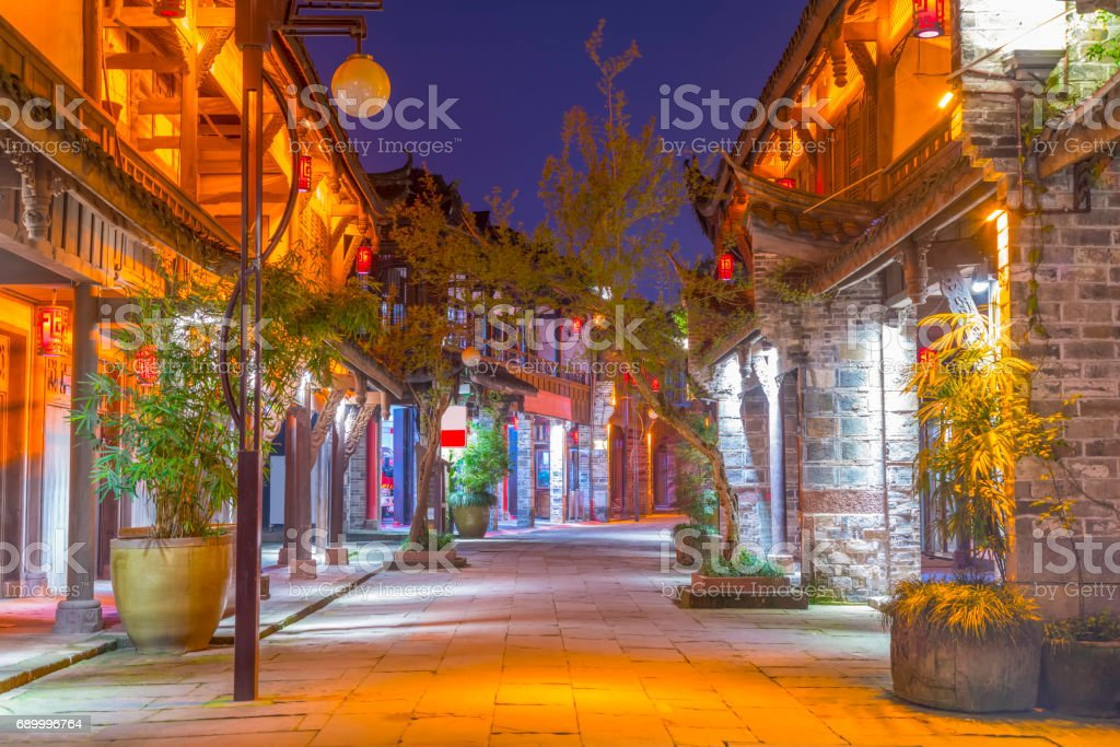 Ancient town of Huanglong Valley in Sichuan stock photo
