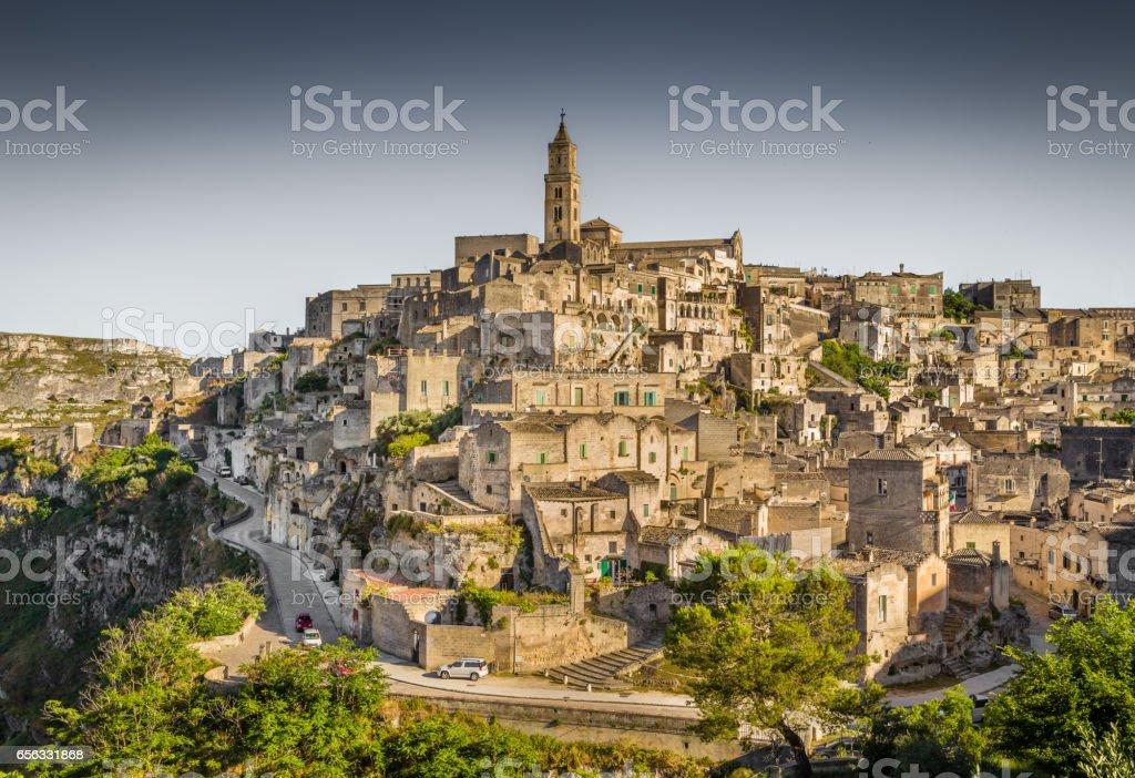 Ancient town of Matera at sunset, Basilicata, Italy stock photo