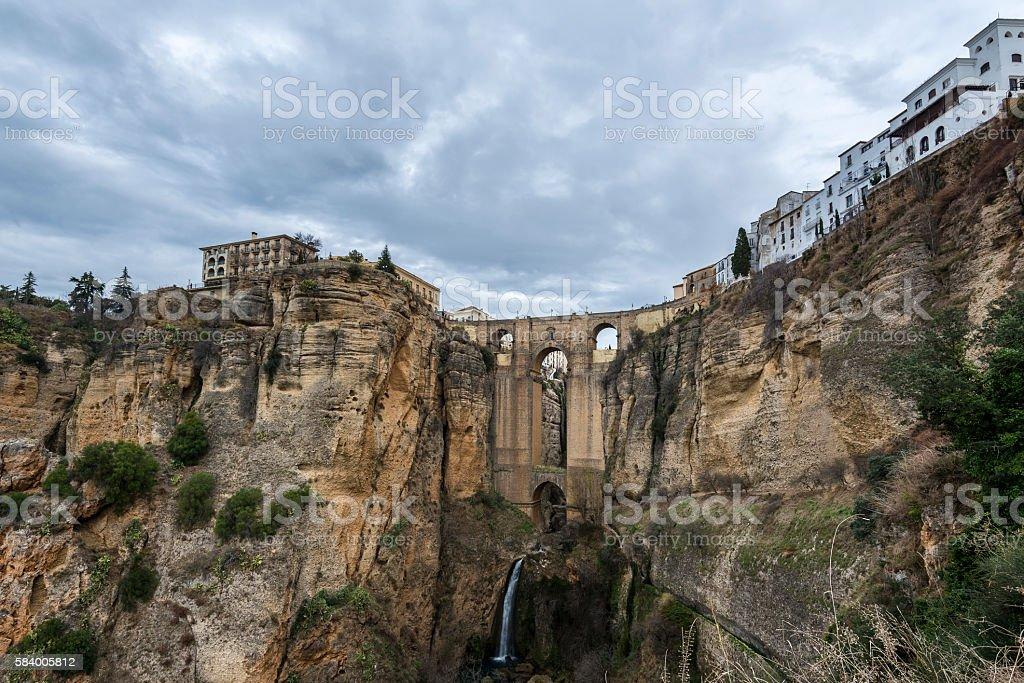 Ancient town of Ronda. The Puente Nuevo Bridge, Spain stock photo