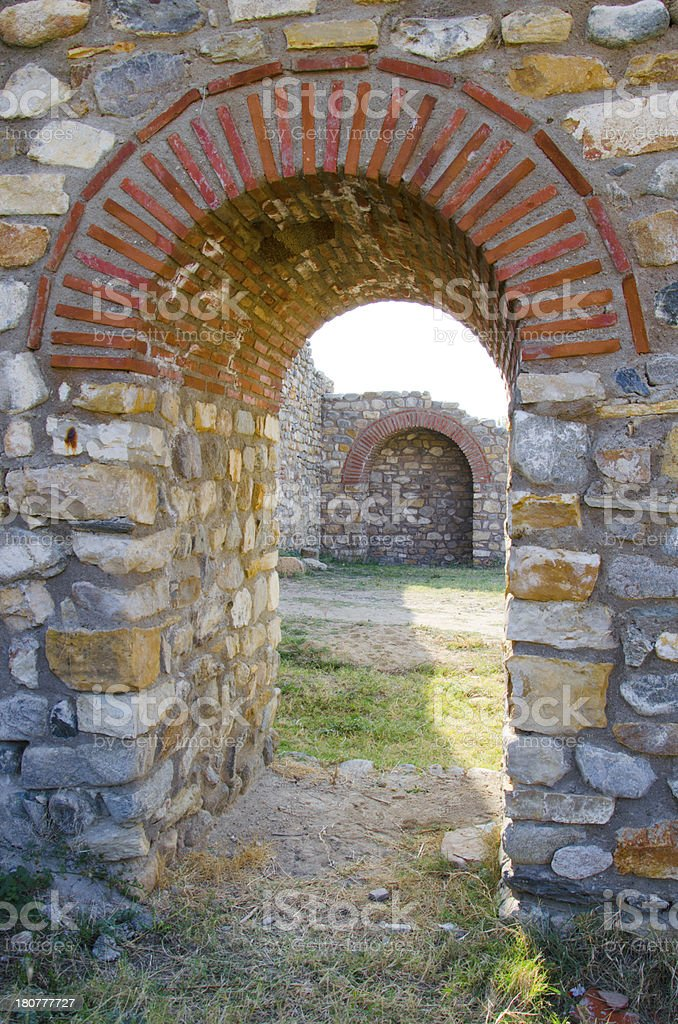 ancient town old arched stone passage stock photo
