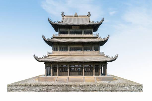 alte traditionelle Pavillon isoliert auf blauem Himmel Hintergrund – Foto