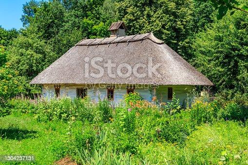 Kiev, Ukraine - June 28, 2020: Ancient traditional ukrainian rural house in Pyrohiv (Pirogovo) village near Kiev, Ukraine