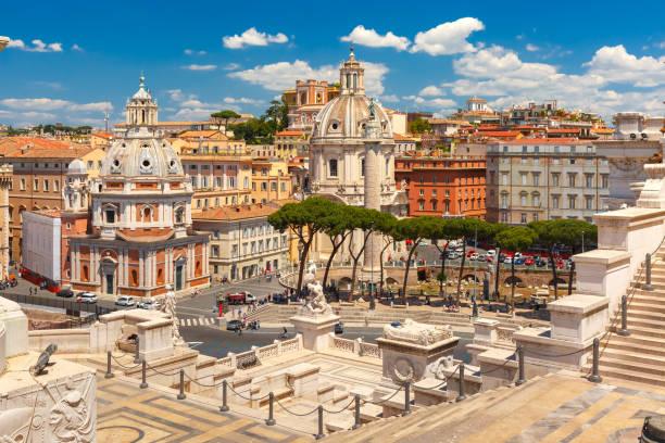 Ancient Trajan Forum in Rome, Italy stock photo