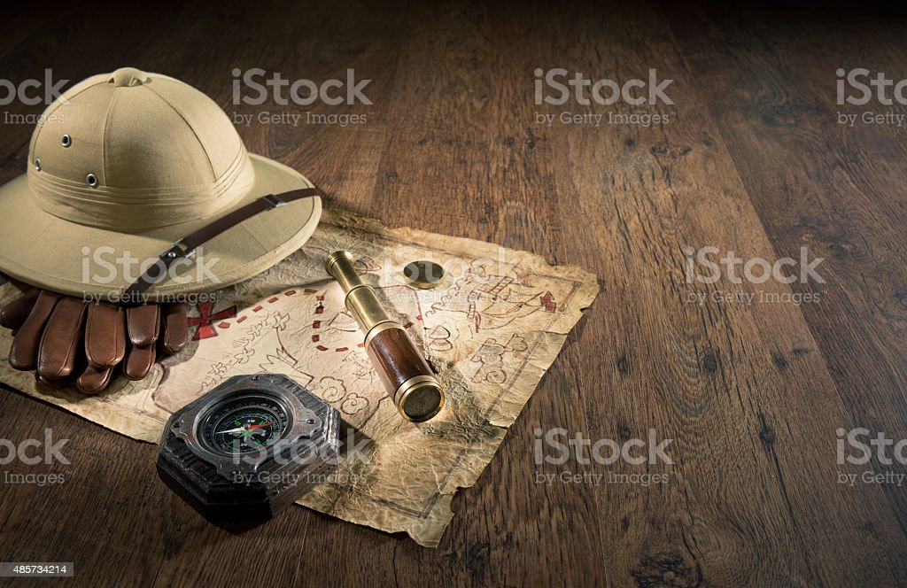 Ancient treasure map stock photo