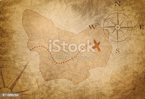 istock ancient treasure map 611868254