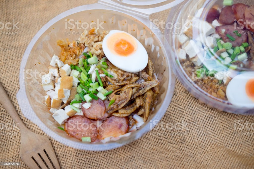 Ancient tube noodle, Thai traditional local food, in thai call...