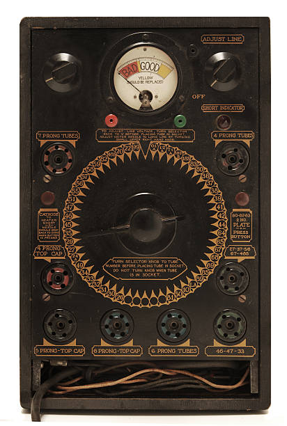 antique tube tester - radiobuis stockfoto's en -beelden