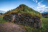 Ancient turf house in Iceland. Icelandic traditional building.