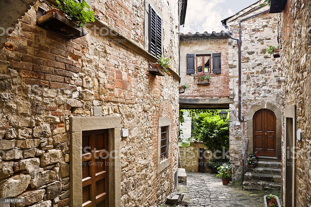 Ancient Tuscan Village in the Chianti Region, Italy stock photo