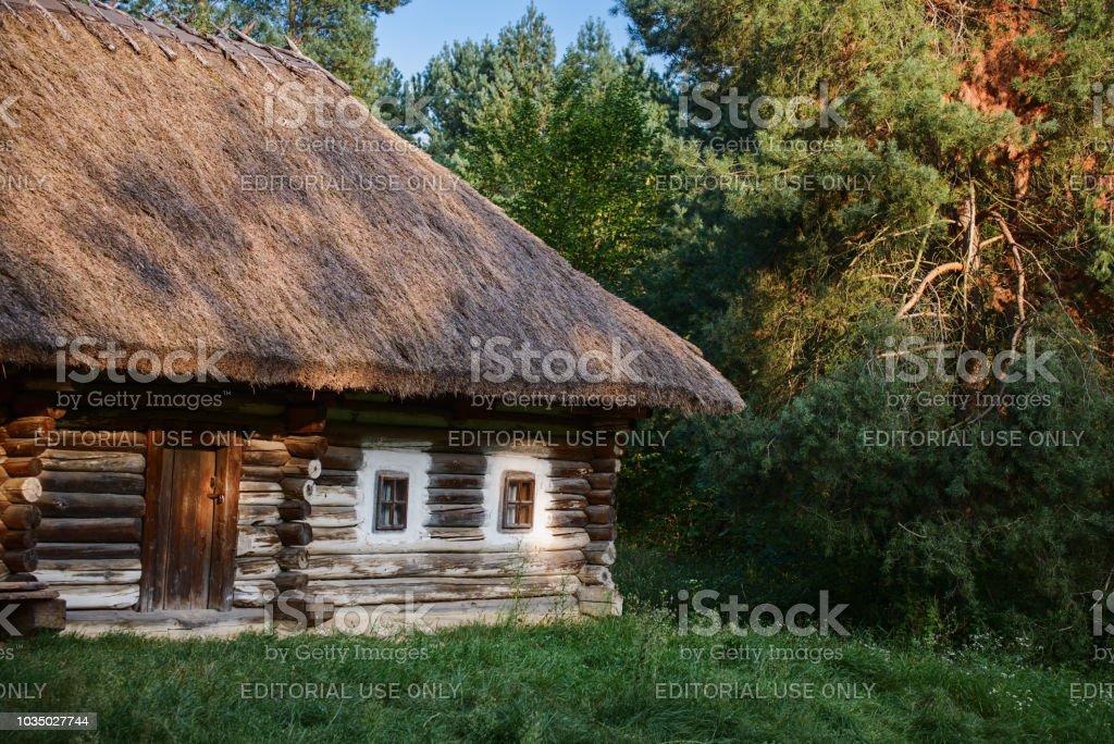 Ancient Ukrainian wooden house stock photo