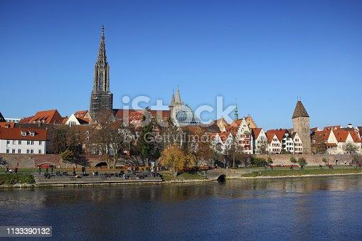 istock Ancient Ulm old city wall autumn season, Germany, Lutheran minster Baden-Württemberg, Highest christian church 1133390132