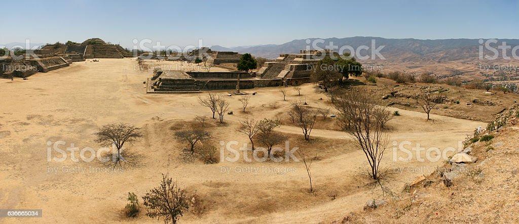 Ancient UNESCO World Heritage ruins on Monte Alban, Oaxaca, Mexico stock photo