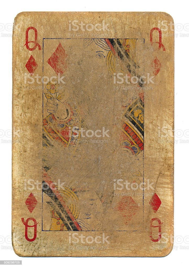 ancient used rubbed playing card queen of diamonds paper background stock photo