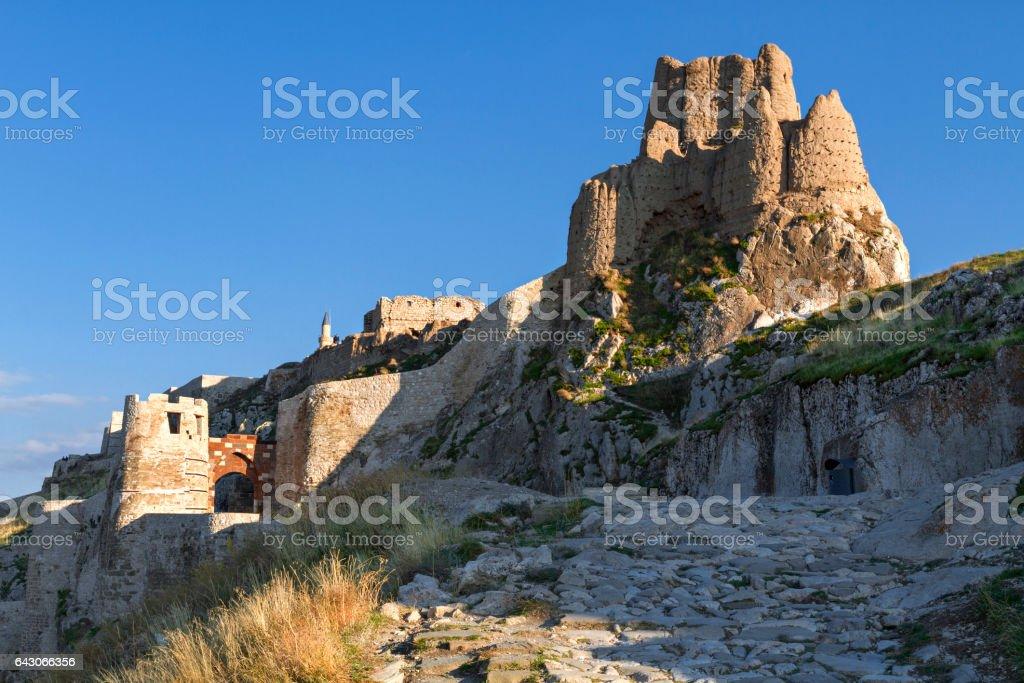 Ancient Van Castle built by the Urartians in the 8th century BC, Van, Turkey stock photo