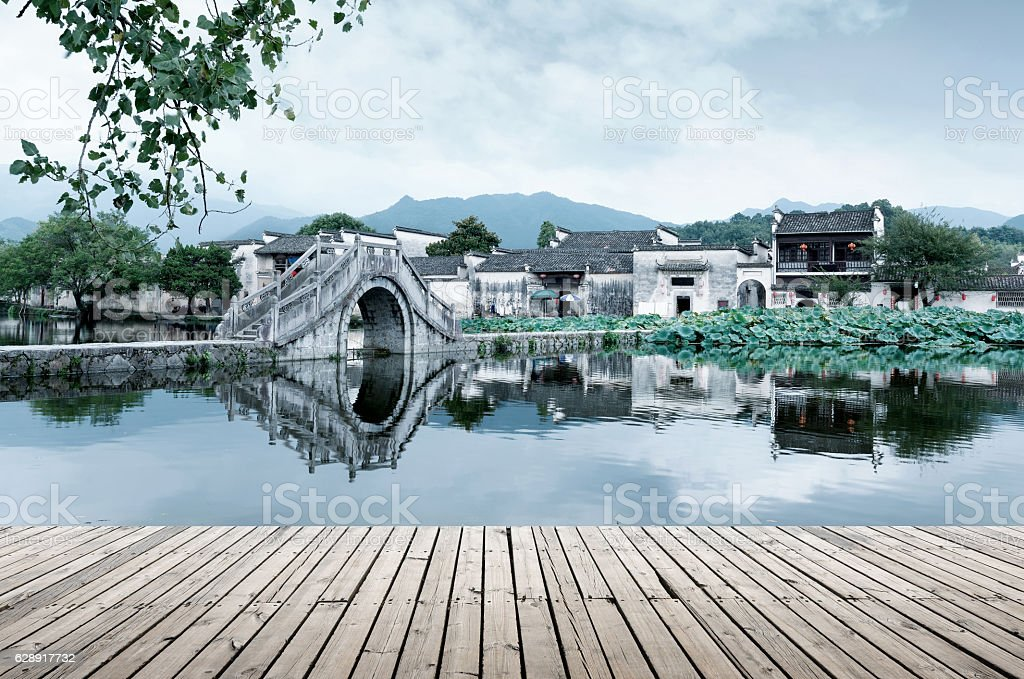 Ancient Village and Ancient Bridge, Anhui, China. stock photo