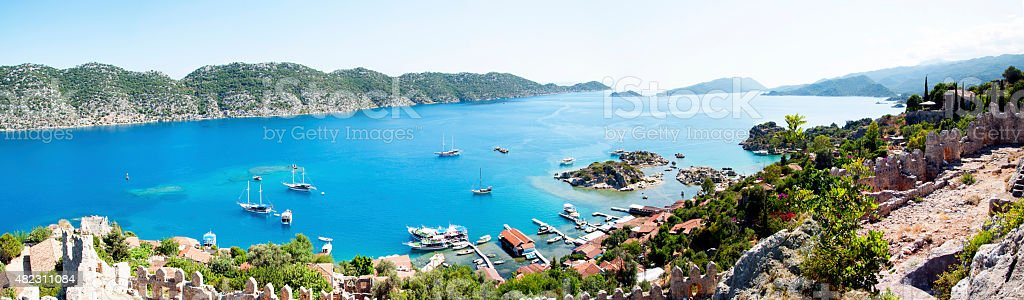 ancient village (Kaleköy) and sea stok fotoğrafı