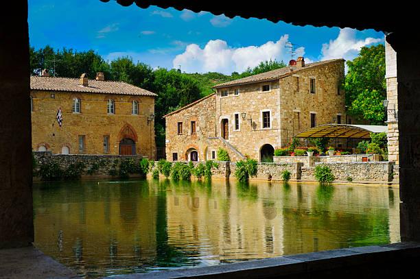 Ancient village Bagno Vignoni - Tuscany stock photo