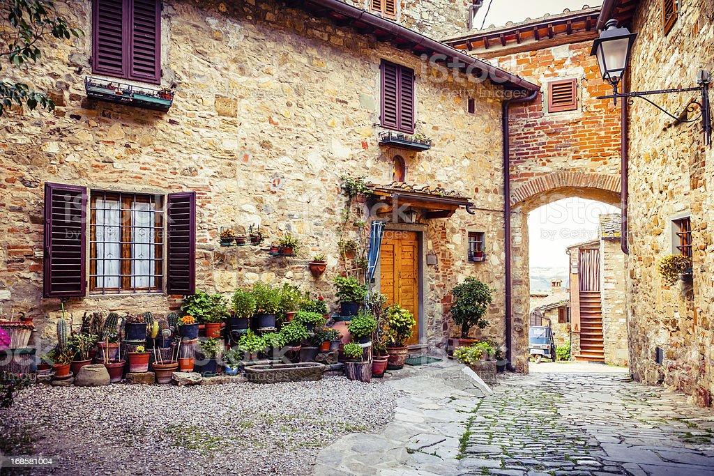 Ancient Village in Tuscany, Italy stock photo