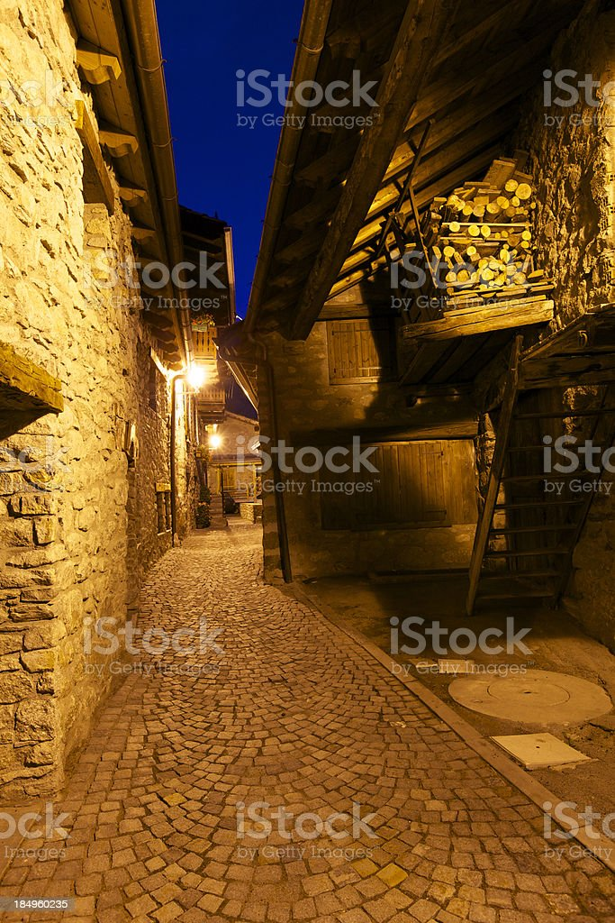 Ancient village of Entreves stock photo