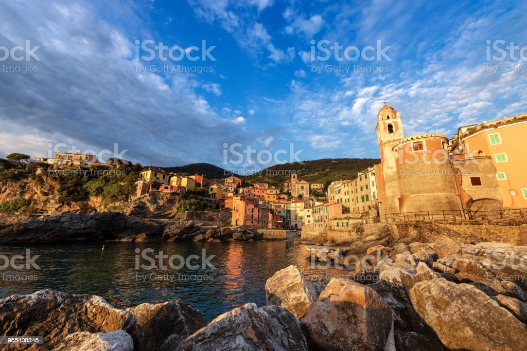Ancient Village of Tellaro at Sunset - Liguria Italy royalty-free stock photo